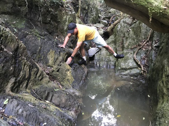 Mark Ashby straddles creek