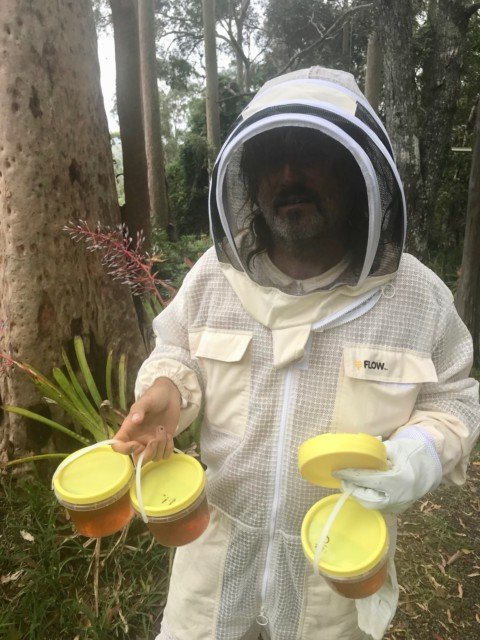 Brett bee suit honey harvest
