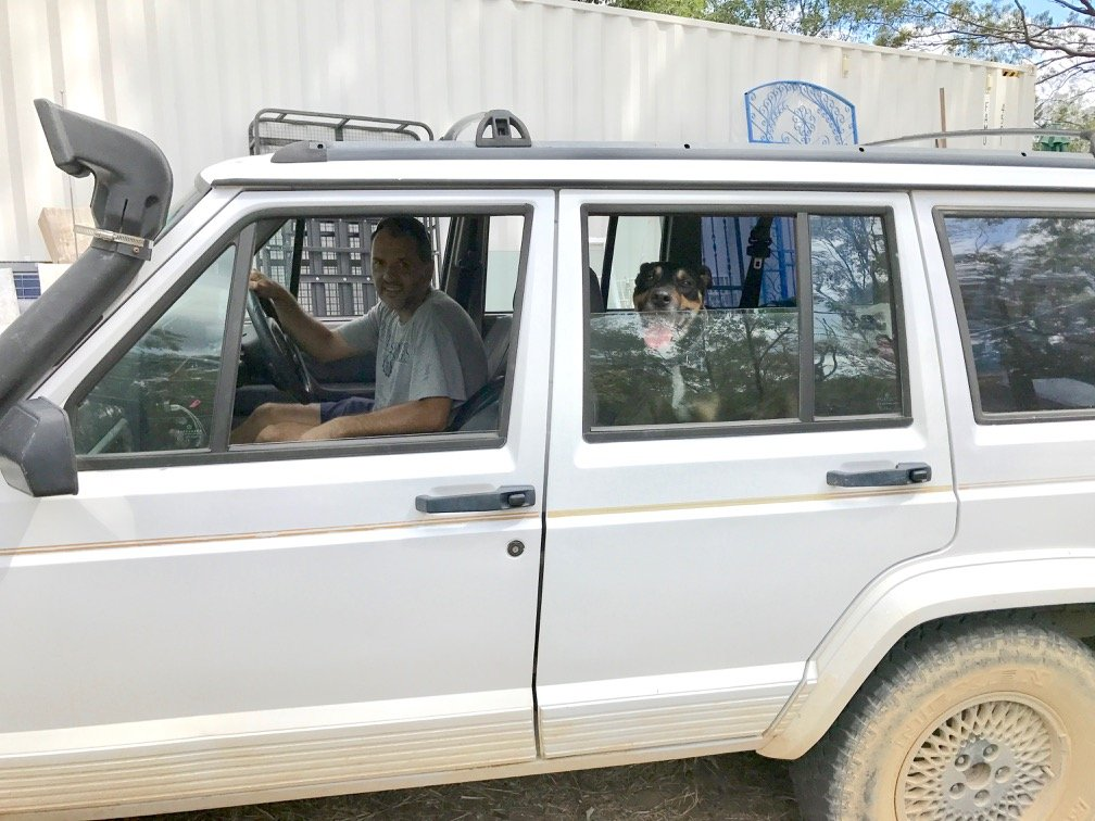 Nick and Jaffa in Jeep car going for a ride